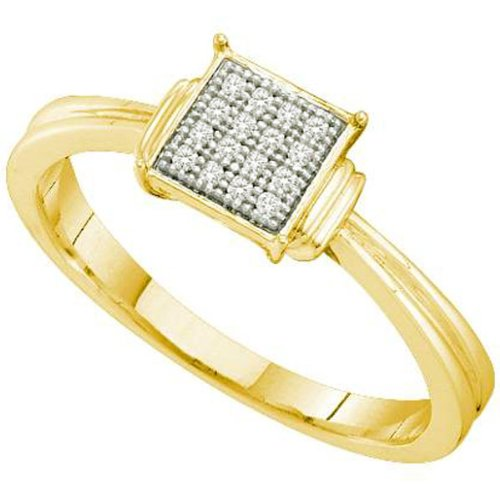 0.05 Carat (ctw) 18k Yellow Gold Plated Sterling Silver White Diamond Ladies Micro Pave Fashion Engagement Promise Ring