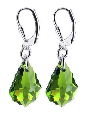 "SCER307 Green Genuine Swarovski Crystals Sterling Silver Leverback 1.25"" Long Dangle Earrings"