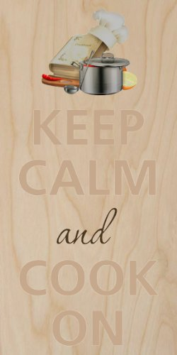 Keep Calm And Cook On Chef Hat - Plywood Wood Print Poster Wall Art front-1061018