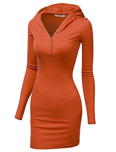 Doublju Womens Active Knit Henley Neck Dress ORANGE,L