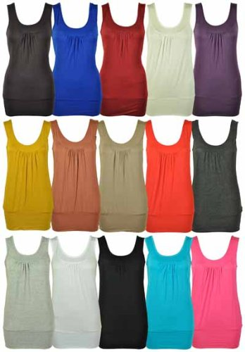New Womens Plain Ruched Basic Sleeveless Vest