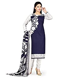 PShopee Navy Blue & White Printed Cotton Unstitched Salwar Suit Material