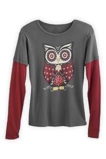 Green 3 Apparel Layered Look Retro Owl Organic Made in USA Tee