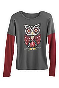 Green 3 Apparel Layered Look Retro Owl Organic Made in USA Tee