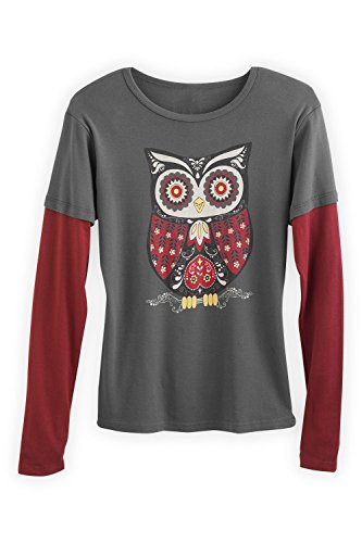Green 3 Apparel Layered Look Retro Owl Organic Made In Usa Tee (S, Grey) front-190707
