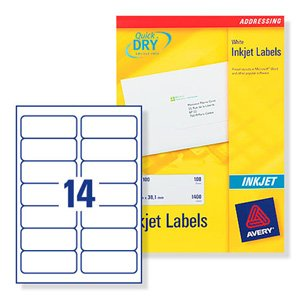 Avery Quick DRY Addressing Labels Inkjet 14 per Sheet 99.1x38.1mm White Ref J8163-250 [3500 Labels]
