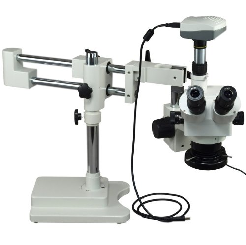 Omax 5X-80X Digital Zoom Binocular Dual-Bar Boom Stand Stereo Microscope With 5.0Mp Usb Camera And 144 Led Ring Light With Light Control Box