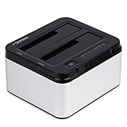 YKS Aluminum USB 3.0 to SATA Dual Bay External Hard Drive Docking Station for 2.5 or 3.5in HDD, SSD with Hard Drive Duplicator/Cloner Function [6TB Support]