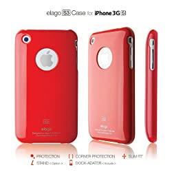 elago S3 Case for iPhone 3G/3GS (High Glossy)-Extream Hot Red + Universal Dock Adapter + S2 Stand included