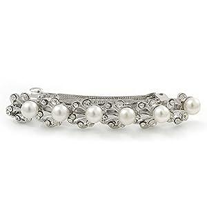 Bridal Wedding Prom Silver Tone Crystal Diamante & Simulated Pearl Barrette Hair Clip Grip - 85mm Width