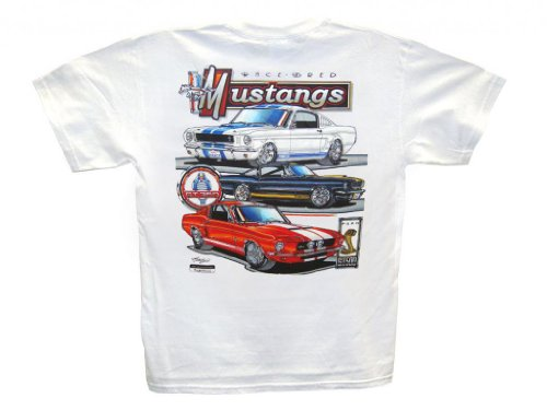 Hot Shirts Men'S Race Bred Mustangs/ True Horses T-Shirt Large White