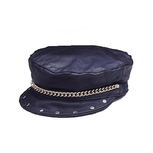 LEATHER BIKER HAT WITH CHAIN