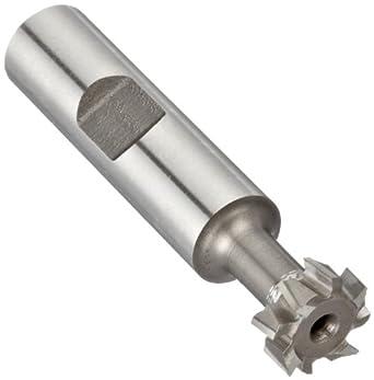 "Niagara Cutter N10800 T-Slot Shank Type Cutter, High Speed Steel, Uncoated (Bright), Weldon Shank, 10 Helix Angle, 9/16"" Cutter Diameter, 8 Tooth, 15/64"" Width"