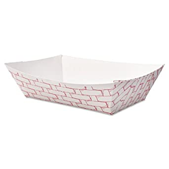 Boardwalk 30LAG200 Paper Food Baskets, 2 lb Capacity, Red/White (Case of 1000)