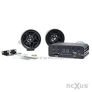 A-510 AU - 12V Motorrad MP3 FLAC APE FM Player USB SD mit Aussenlautsprechern + Kabelfernbedienung, Update von A-500
