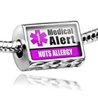 "Neonblond Beads Medical Alert Purple ""Nuts Allergy"" - Fits Pandora Charm Bracelet from NEONBLOND Jewelry & Accessories"