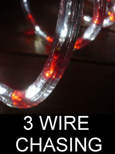 50Ft Rope Lights 3wires vivid red and pure white chasing