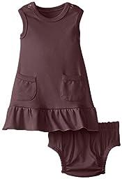 L\'ovedbaby Baby-Girls Newborn Organic Baby-Doll Dress, Eggplant, 12/18 Months
