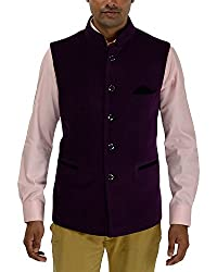 Panache Velvet Men's Nehru Jacket (Purple,44)