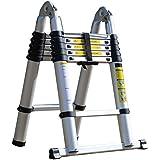 アルミ脚立 伸縮はしご 折りたたみ式 ステップラダー 伸縮自在 最長3.8m 耐荷重 150kg 安全ロック機能付