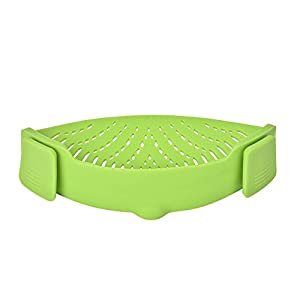 Pan Strainer, Homebunnyy Silicone Kitchen Strainer Clip Colander for Draining, Universal Size, Green