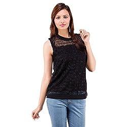 Centiaro Women's Casual Wear Black Poly Cotton Top