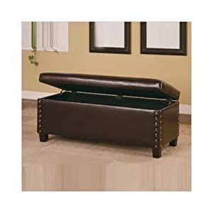 Broadbent Leather Bedroom Bench With Storage And Pin Trim In Deep Brown Patio Lawn