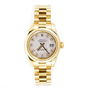 Rolex Ladys President New Style Heavy Band 18k Yellow Gold Model 179178 Fluted Bezel White Diamond Dial