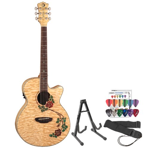 Luna Guitars Flo-Rse Acoustic-Electric Guitar With Stand, Strap & Pick Sampler