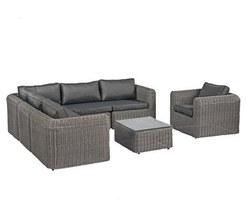 poly rattan lounge gartenset grau sofa garnitur polyrattan. Black Bedroom Furniture Sets. Home Design Ideas