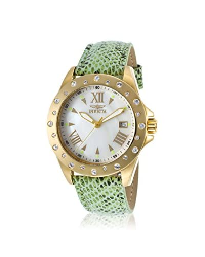 Invicta Women's 18358 Angel Light Green/White Mother-of-Pearl Leather Watch