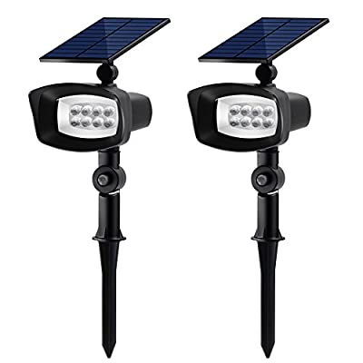 InnoGear Upgraded 8 LED Solar Lights with Static White Color and Rotating Through Colorful Light Outdoor Landscape Lighting Waterproof Spotlight Garden Wall Lights, Pack of 2