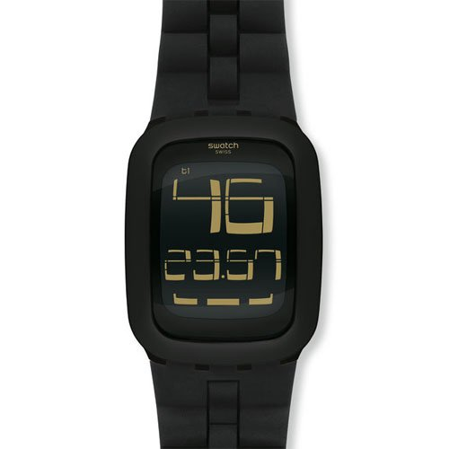 Swatch SURB112 Black Bump Digital Dial Black Silicone Band Unisex Watch NEW (Swatch Watch Digital compare prices)