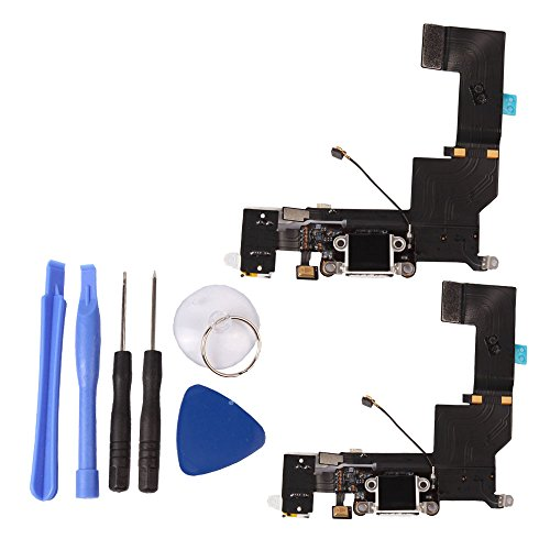 Ygdz 2 Pieces Iphone 5S Replacement Bottom Dock Charging Port Ribbon Flex Cable Headphone Jack Assembly With Microphone Premium Kit With Tools (Ships From Usa) - White
