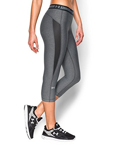 Under Armour Women's HeatGear CoolSwitch Capri, Carbon Heather (090), Small