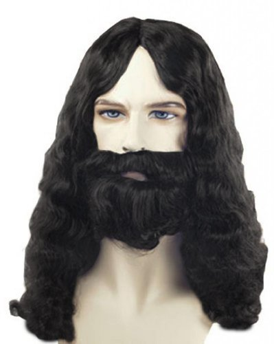 Costume Adventure Men's Quality Black Biblical Jesus Style Wig and Beard