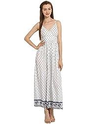 Border Printed Maxi Dress Medium