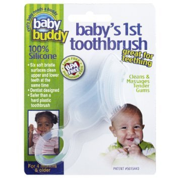Baby Buddy Baby's 1st Toothbrush Teether-Innovative 6-Stage Oral Care System Grows With Your Child-Stage 4 for Babies/Toddlers-Kids Love Them, Clear (First Baby Finger Food compare prices)