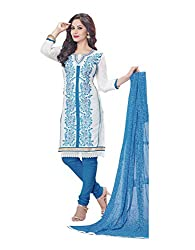 RK Fashion Womens Cotton Un-Stitched Salwar Suit Dupatta Material ( MITTAL-SANAM-7013-White-Free Size )