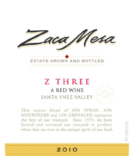 2010 Zaca Mesa Winery Z-Three Santa Barbara County, Santa Ynez Valley 750 Ml