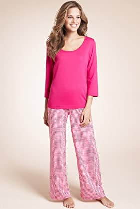 Pure Cotton 3/4 Sleeve Dogtooth Pyjamas