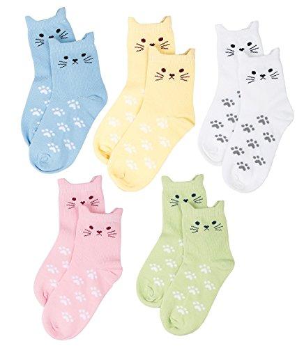 maiwa-cotton-novelty-cats-crew-no-seam-socks-5-pack-for-girls-5-8years-16-18cm