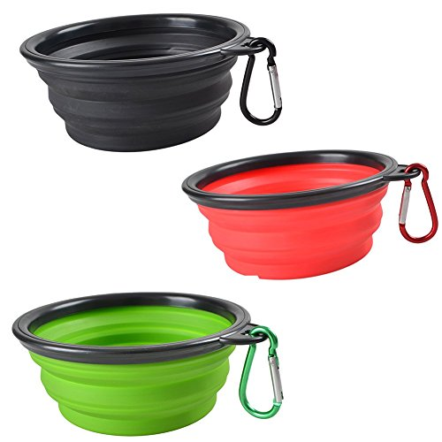 Loghot Collapsible Pet Travel Dog Bowl Silicone (Set of 3) with Carabiner Black Box, Portable Dogs Food and Water Bowl