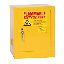 "Eagle 1904 Safety Cabinet for Flammable Liquids, 1 Door Manual , 4 gallon, 22-1/2""Height, 17-1/2""Width, 18""Depth, Steel, Yellow"