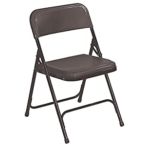 "National Public Seating Poly/Steel Folding Chair - 18X20x29"" - Black Poly/Black Frame - Black Poly/Black Frame - Lot of 4"