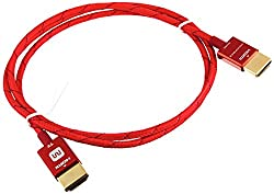 Monoprice 3-Feet 18Gbps Ultra Slim Series High Performance HDMI Cable with RedMere Technology - Red (111185)