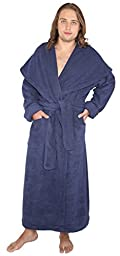 Arus Men\'s Monk Robe Style Full Length Long Hooded Turkish Terry Cloth Bathrobe, M, Navy Marine