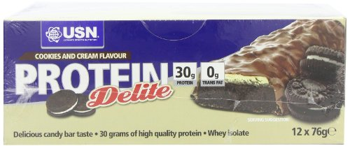 USN Protein Delite 76 g Cookies and Cream High Protein Snack Bars - Box of 12