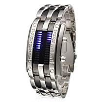 Baolihao LED Bule-Light Digit Stainless Steel Wrist Watch with Weekday Display WTH0352