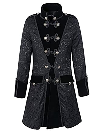 Steampunk Men's Coats Mens Black Gothic Brocade Jacket Frock Coat Steampunk VTG Victorian  AT vintagedancer.com